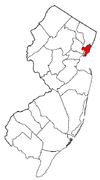 Hudson County Highlighted on map in red